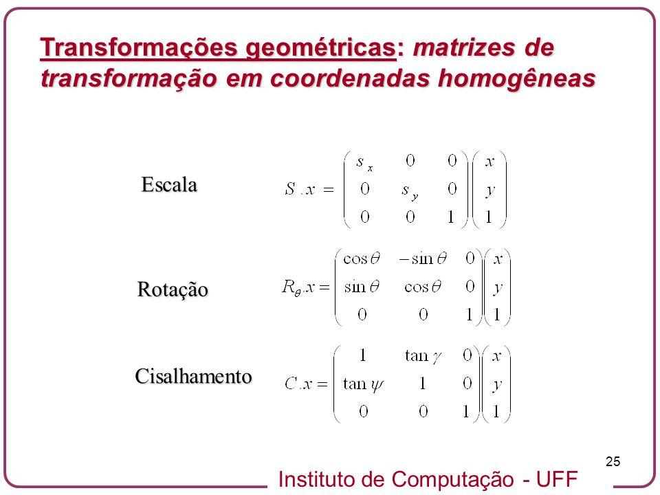 Instituto de Computação - UFF 25 Transformações geométricas: matrizes de transformação em coordenadas homogêneas Escala Rotação Cisalhamento