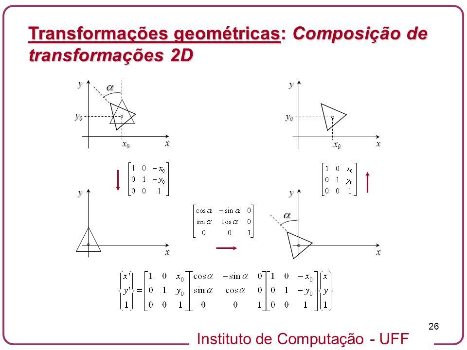 Instituto de Computação - UFF 26 Transformações geométricas: Composição de transformações 2D x y x0x0x0x0 y0y0y0y0 x y x yx y x0x0x0x0 y0y0y0y0
