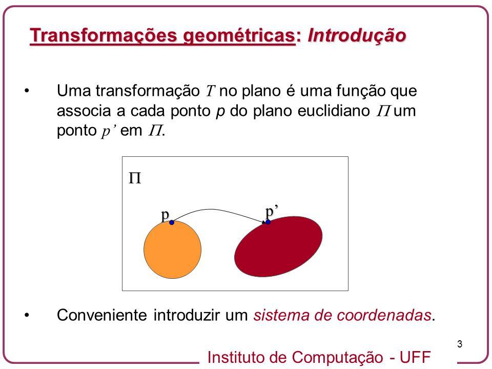 Instituto de Computação - UFF 3 Uma transformação T no plano é uma função que associa a cada ponto p do plano euclidiano um ponto p em.
