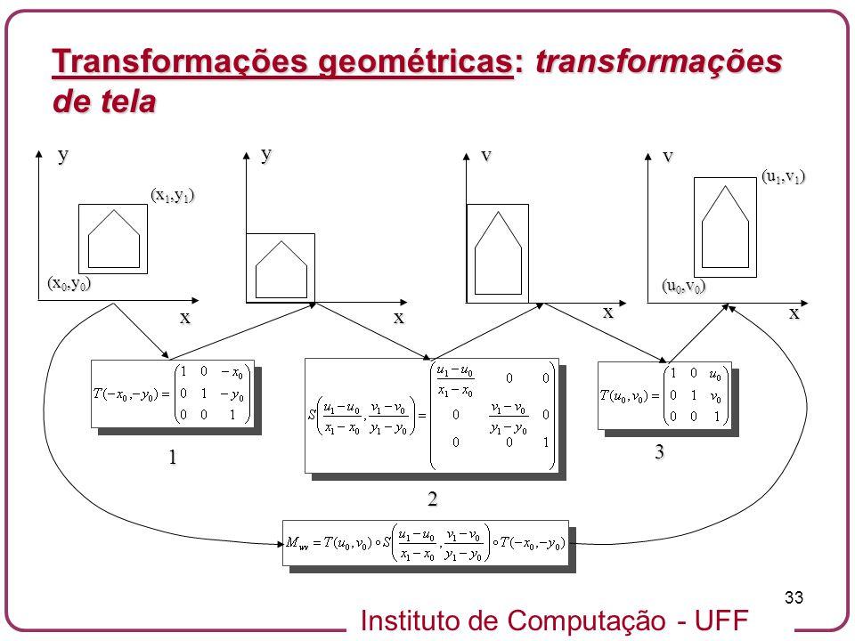 Instituto de Computação - UFF 33 (x 0,y 0 ) x x (x 1,y 1 ) (u 1,v 1 ) (u 0,v 0 ) x x y y v v 1 2 3 Transformações geométricas: transformações de tela