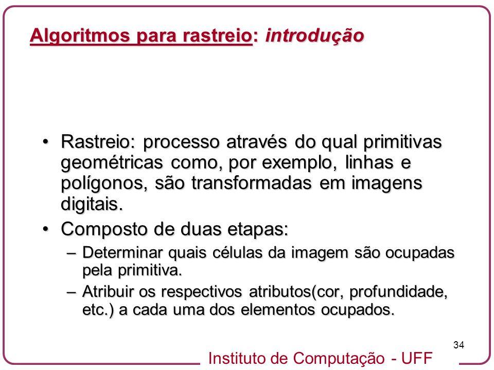 Instituto de Computação - UFF 34 Rastreio: processo através do qual primitivas geométricas como, por exemplo, linhas e polígonos, são transformadas em imagens digitais.Rastreio: processo através do qual primitivas geométricas como, por exemplo, linhas e polígonos, são transformadas em imagens digitais.