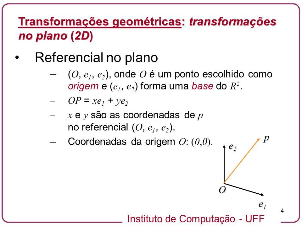 Instituto de Computação - UFF 4 Referencial no plano –( O, e 1, e 2 ), onde O é um ponto escolhido como origem e ( e 1, e 2 ) forma uma base do R 2.