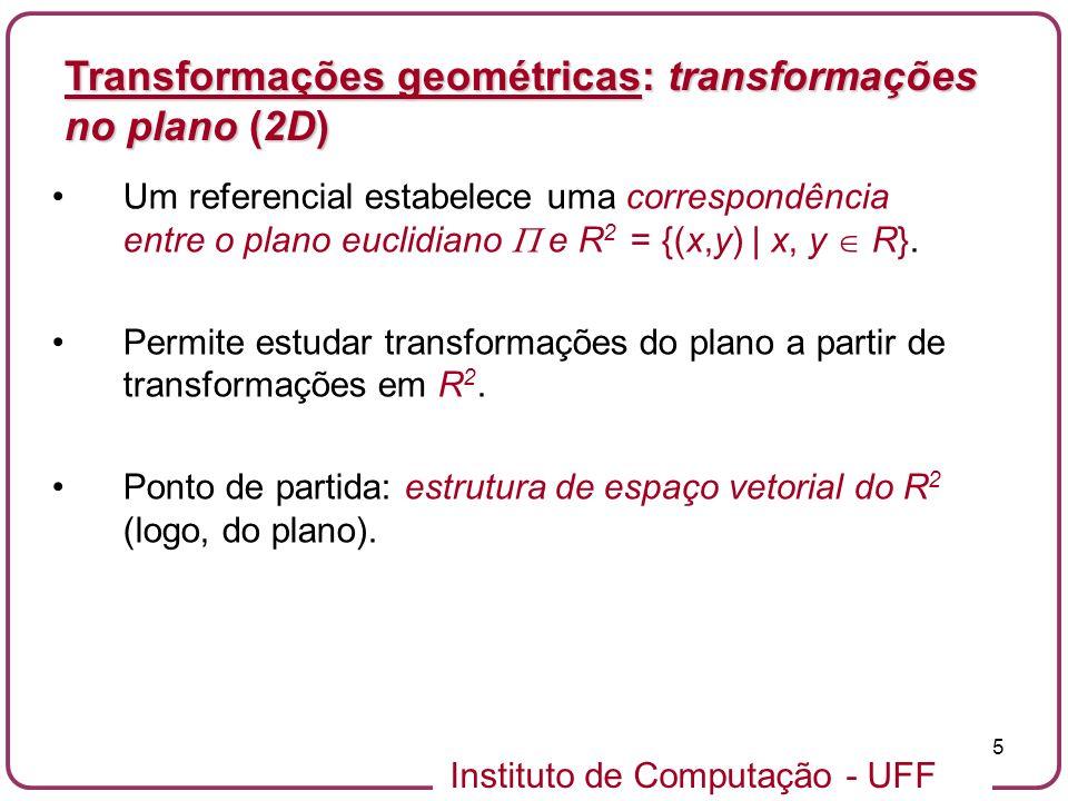 Instituto de Computação - UFF 5 Um referencial estabelece uma correspondência entre o plano euclidiano e R 2 = {(x,y) | x, y R}.