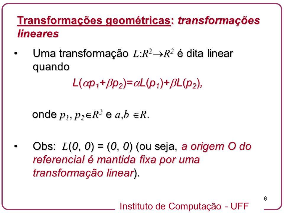 Instituto de Computação - UFF 6 Uma transformação L:R 2 R 2 é dita linear quandoUma transformação L:R 2 R 2 é dita linear quando L( p 1 + p 2 )= L(p 1 )+ L(p 2 ), L( p 1 + p 2 )= L(p 1 )+ L(p 2 ), onde p 1, p 2 R 2 e a, b R.