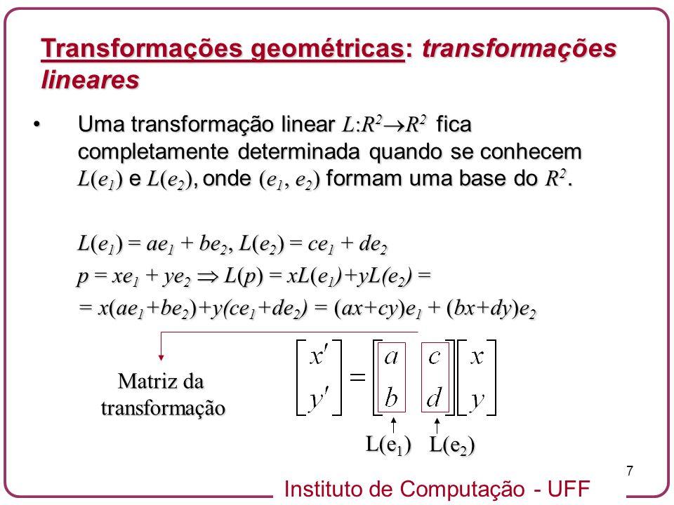 Instituto de Computação - UFF 7 Uma transformação linear L:R 2 R 2 fica completamente determinada quando se conhecem L(e 1 ) e L(e 2 ), onde (e 1, e 2 ) formam uma base do R 2.Uma transformação linear L:R 2 R 2 fica completamente determinada quando se conhecem L(e 1 ) e L(e 2 ), onde (e 1, e 2 ) formam uma base do R 2.