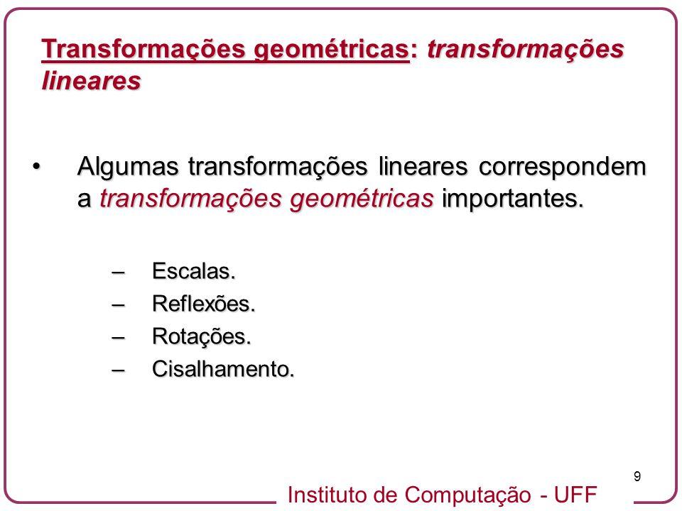 Instituto de Computação - UFF 9 Algumas transformações lineares correspondem a transformações geométricas importantes.Algumas transformações lineares correspondem a transformações geométricas importantes.