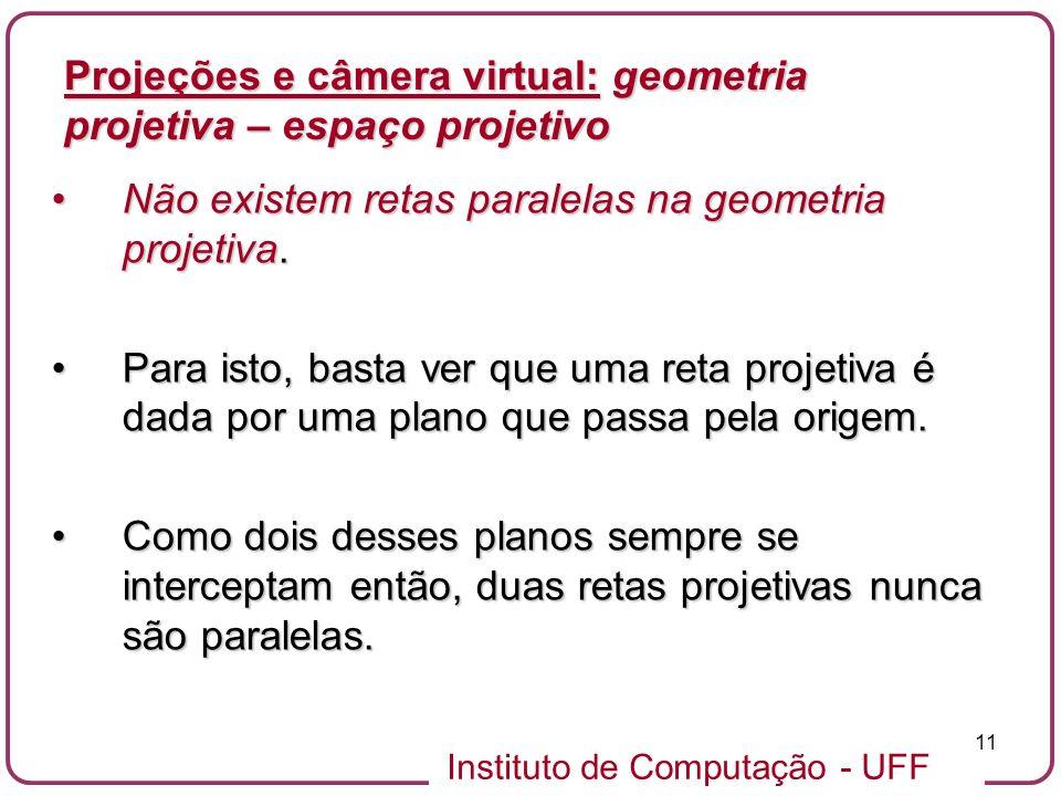Instituto de Computação - UFF 11 Não existem retas paralelas na geometria projetiva.Não existem retas paralelas na geometria projetiva.