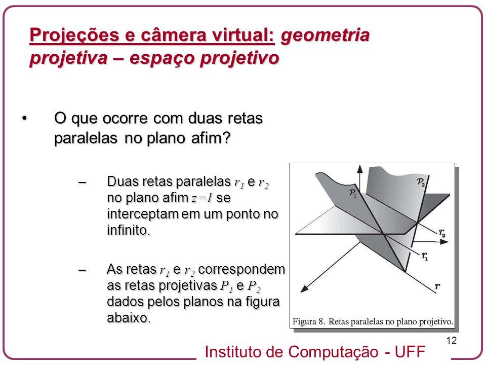 Instituto de Computação - UFF 12 O que ocorre com duas retas paralelas no plano afim?O que ocorre com duas retas paralelas no plano afim.