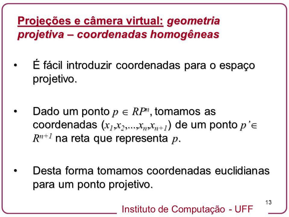 Instituto de Computação - UFF 13 É fácil introduzir coordenadas para o espaço projetivo.É fácil introduzir coordenadas para o espaço projetivo.