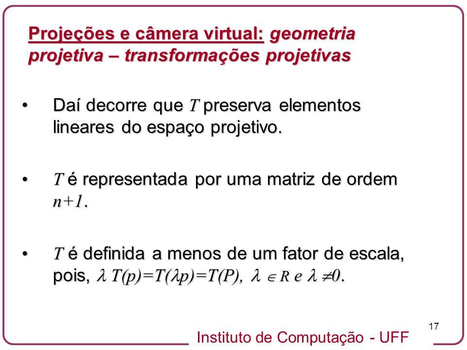 Instituto de Computação - UFF 17 Daí decorre que T preserva elementos lineares do espaço projetivo.Daí decorre que T preserva elementos lineares do espaço projetivo.