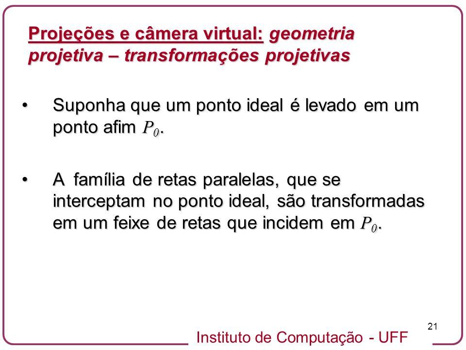 Instituto de Computação - UFF 21 Suponha que um ponto ideal é levado em um ponto afim P 0.Suponha que um ponto ideal é levado em um ponto afim P 0.