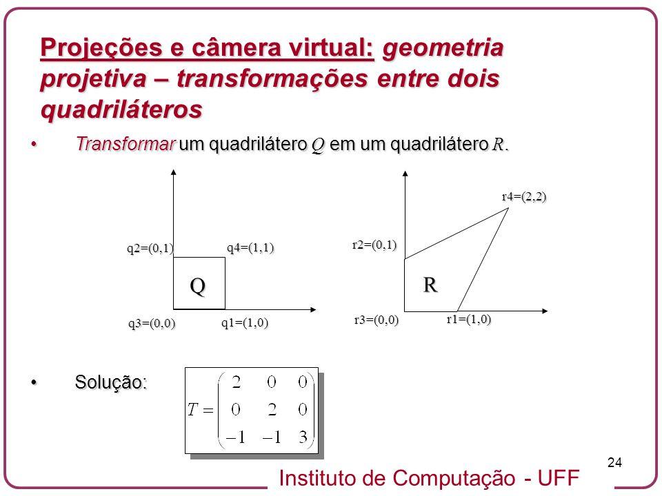 Instituto de Computação - UFF 24 Transformar um quadrilátero Q em um quadrilátero R.Transformar um quadrilátero Q em um quadrilátero R.