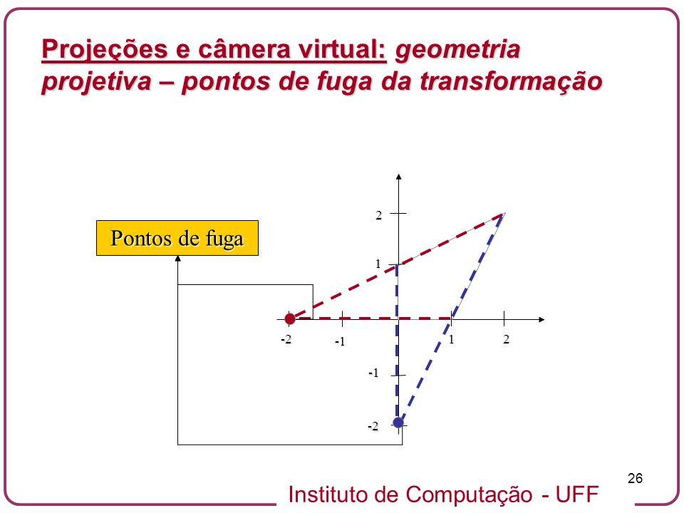 Instituto de Computação - UFF 26 Projeções e câmera virtual: geometria projetiva – pontos de fuga da transformação 1 1 2 2 -2 -2 Pontos de fuga