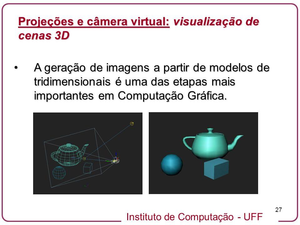 Instituto de Computação - UFF 27 A geração de imagens a partir de modelos de tridimensionais é uma das etapas mais importantes em Computação Gráfica.A geração de imagens a partir de modelos de tridimensionais é uma das etapas mais importantes em Computação Gráfica.