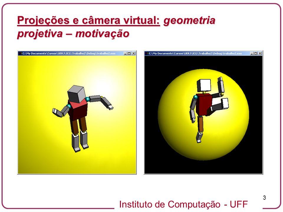 Instituto de Computação - UFF 34 A geometria do modelo de câmera de furo se reduz a projeção cônica.A geometria do modelo de câmera de furo se reduz a projeção cônica.