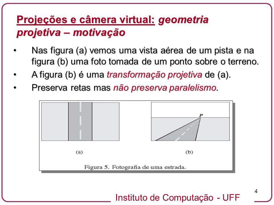 Instituto de Computação - UFF 45 Uma boa escolha para parametrizar uma câmera é utilizar os parâmetros fov e a razão de aspecto w/h entre a largura e altura da tela.Uma boa escolha para parametrizar uma câmera é utilizar os parâmetros fov e a razão de aspecto w/h entre a largura e altura da tela.