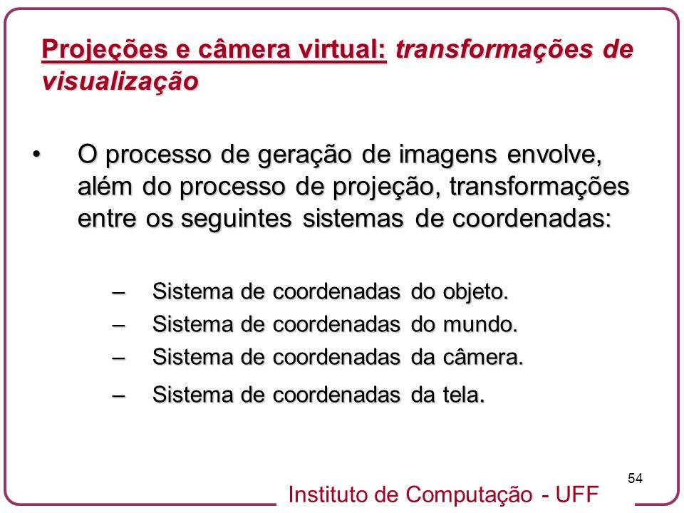 Instituto de Computação - UFF 54 O processo de geração de imagens envolve, além do processo de projeção, transformações entre os seguintes sistemas de coordenadas:O processo de geração de imagens envolve, além do processo de projeção, transformações entre os seguintes sistemas de coordenadas: –Sistema de coordenadas do objeto.