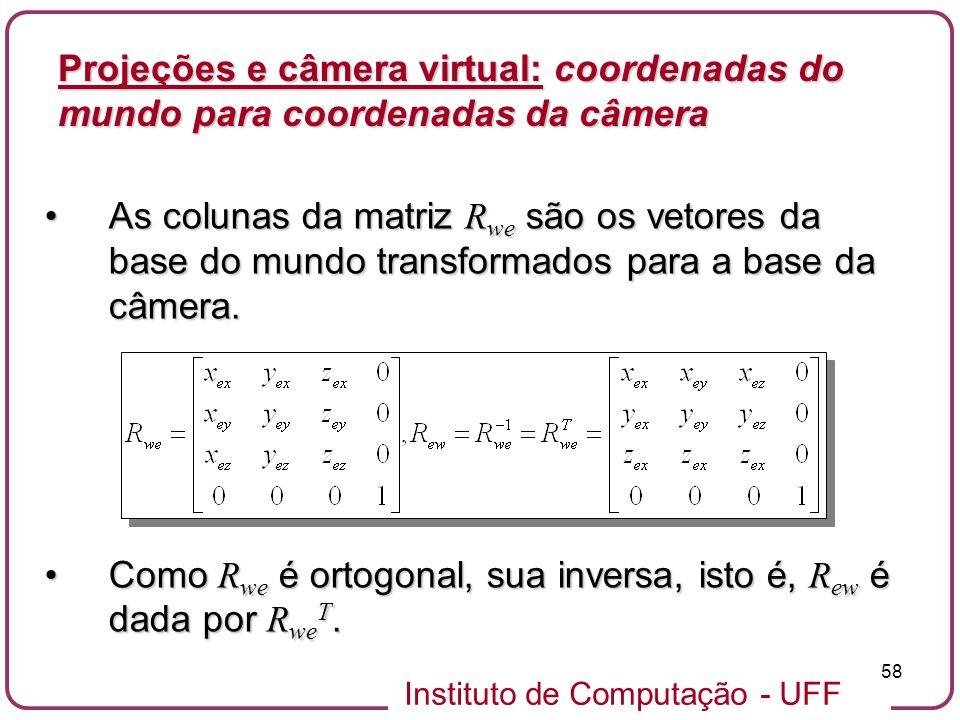 Instituto de Computação - UFF 58 As colunas da matriz R we são os vetores da base do mundo transformados para a base da câmera.As colunas da matriz R we são os vetores da base do mundo transformados para a base da câmera.