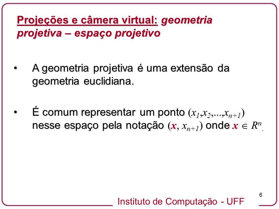 Instituto de Computação - UFF 47 Precisamos de um conjunto de parâmetros mais gerais quando o eixo ótico não atravessa o centro do plano de projeção.Precisamos de um conjunto de parâmetros mais gerais quando o eixo ótico não atravessa o centro do plano de projeção.