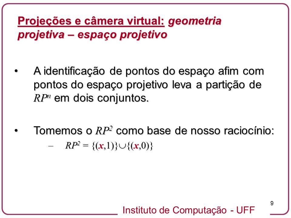 Instituto de Computação - UFF 9 A identificação de pontos do espaço afim com pontos do espaço projetivo leva a partição de RP n em dois conjuntos.A identificação de pontos do espaço afim com pontos do espaço projetivo leva a partição de RP n em dois conjuntos.