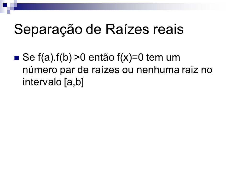 Separação de Raízes reais Se f(a).f(b) >0 então f(x)=0 tem um número par de raízes ou nenhuma raiz no intervalo [a,b]