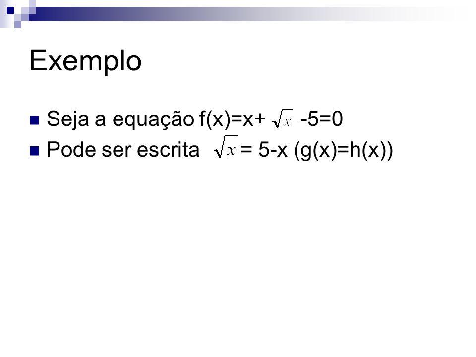 Exemplo Seja a equação f(x)=x+ -5=0 Pode ser escrita = 5-x (g(x)=h(x))