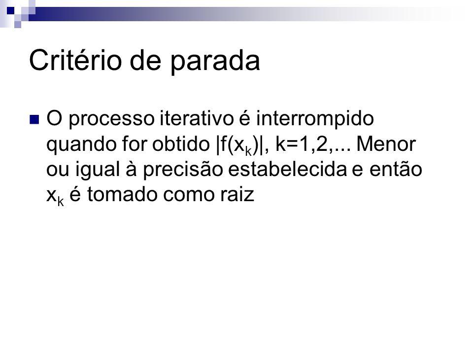Critério de parada O processo iterativo é interrompido quando for obtido |f(x k )|, k=1,2,... Menor ou igual à precisão estabelecida e então x k é tom