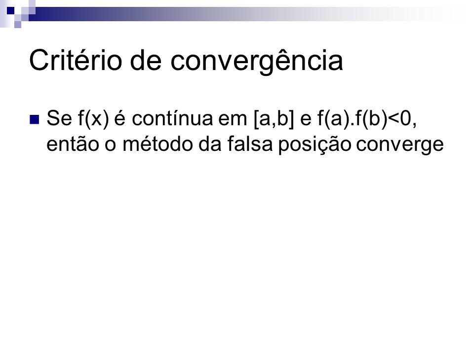Critério de convergência Se f(x) é contínua em [a,b] e f(a).f(b)<0, então o método da falsa posição converge