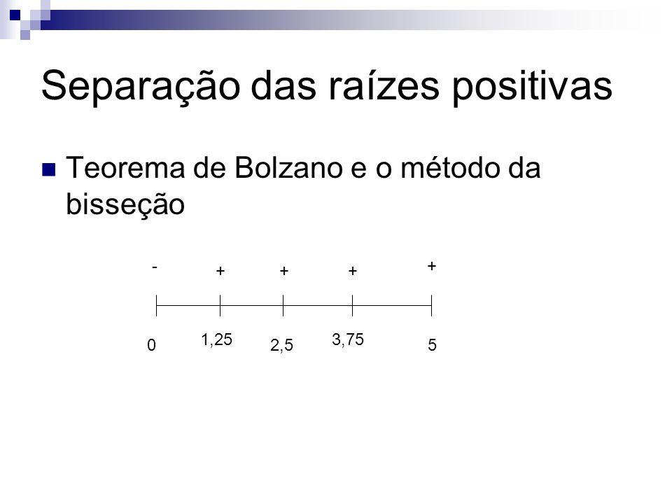 Separação das raízes positivas Teorema de Bolzano e o método da bisseção 05 -+ 2,5 + 1,25 + 3,75 +