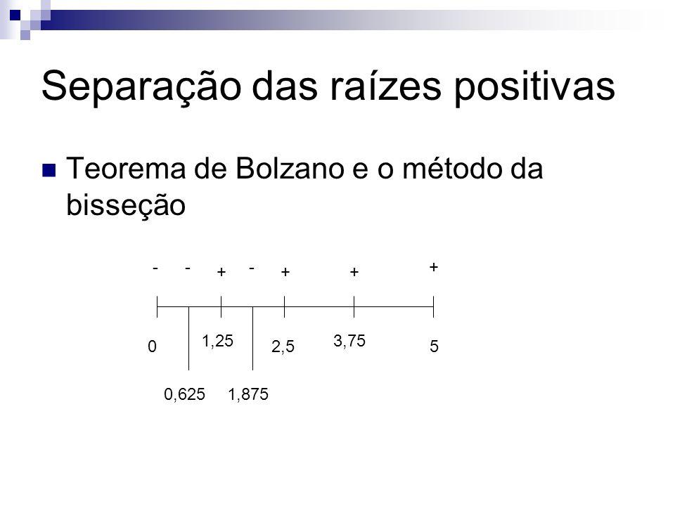 Separação das raízes positivas Teorema de Bolzano e o método da bisseção 05 -+ 2,5 + 1,25 + 3,75 + 0,625 - 1,875 -