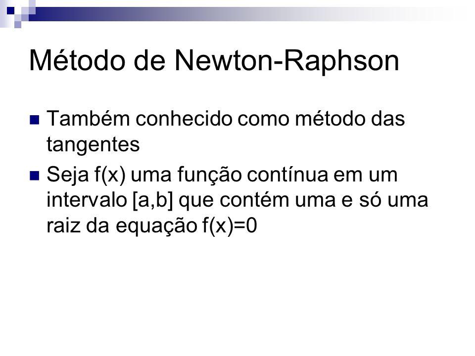 Método de Newton-Raphson Também conhecido como método das tangentes Seja f(x) uma função contínua em um intervalo [a,b] que contém uma e só uma raiz d