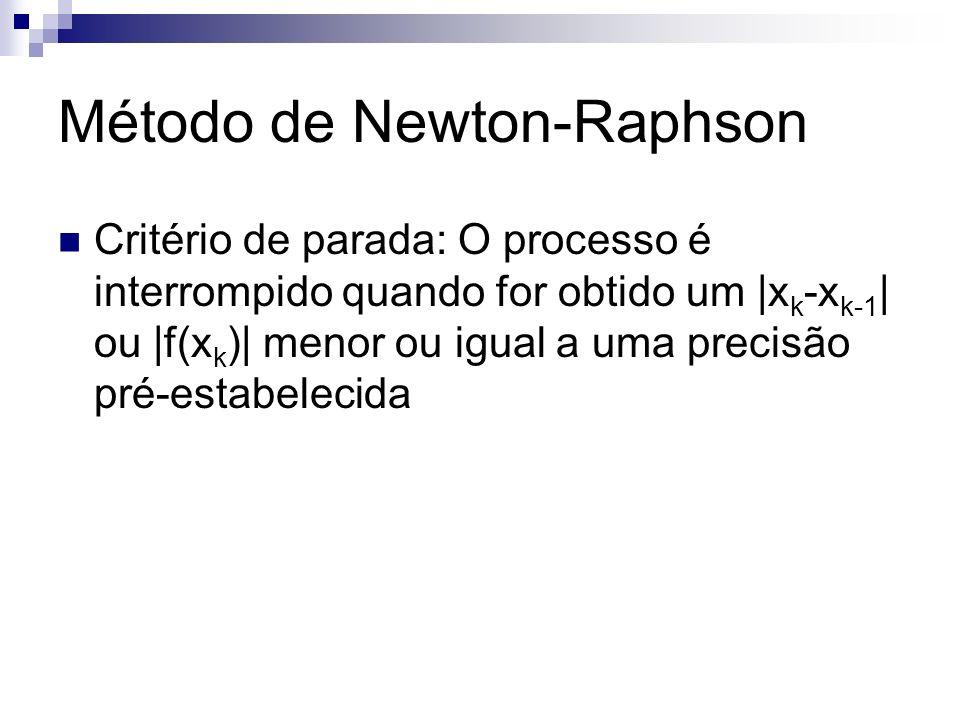 Critério de parada: O processo é interrompido quando for obtido um |x k -x k-1 | ou |f(x k )| menor ou igual a uma precisão pré-estabelecida Método de
