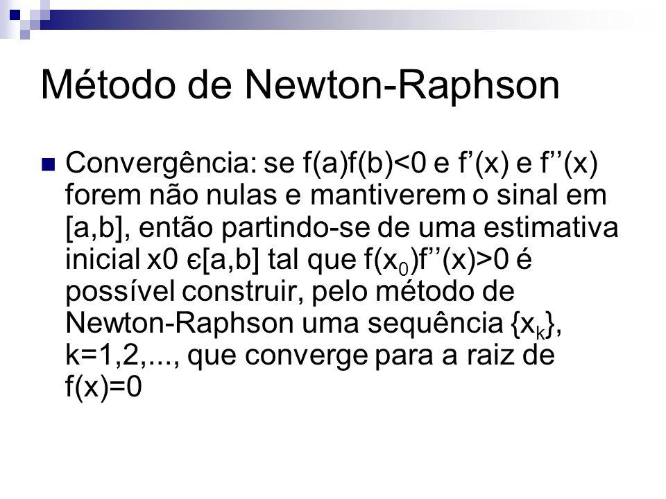 Convergência: se f(a)f(b) 0 é possível construir, pelo método de Newton-Raphson uma sequência {x k }, k=1,2,..., que converge para a raiz de f(x)=0 Mé