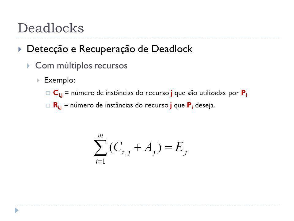 Deadlocks Detecção e Recuperação de Deadlock Com múltiplos recursos Exemplo: C i,j = número de instâncias do recurso j que são utilizadas por P i R i,j = número de instâncias do recurso j que P i deseja.