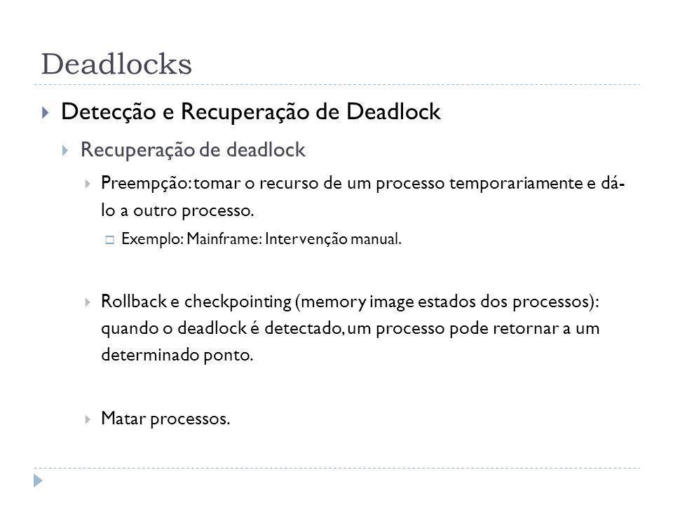Deadlocks Detecção e Recuperação de Deadlock Recuperação de deadlock Preempção: tomar o recurso de um processo temporariamente e dá- lo a outro processo.