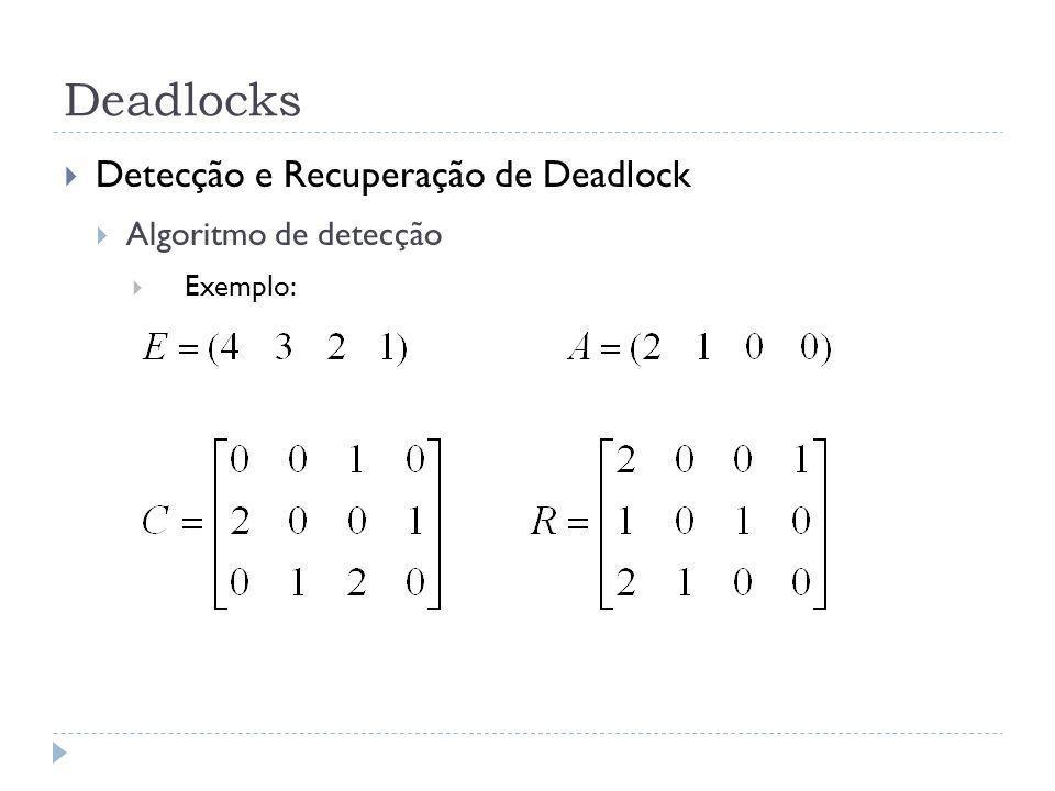 Deadlocks Detecção e Recuperação de Deadlock Algoritmo de detecção Exemplo: