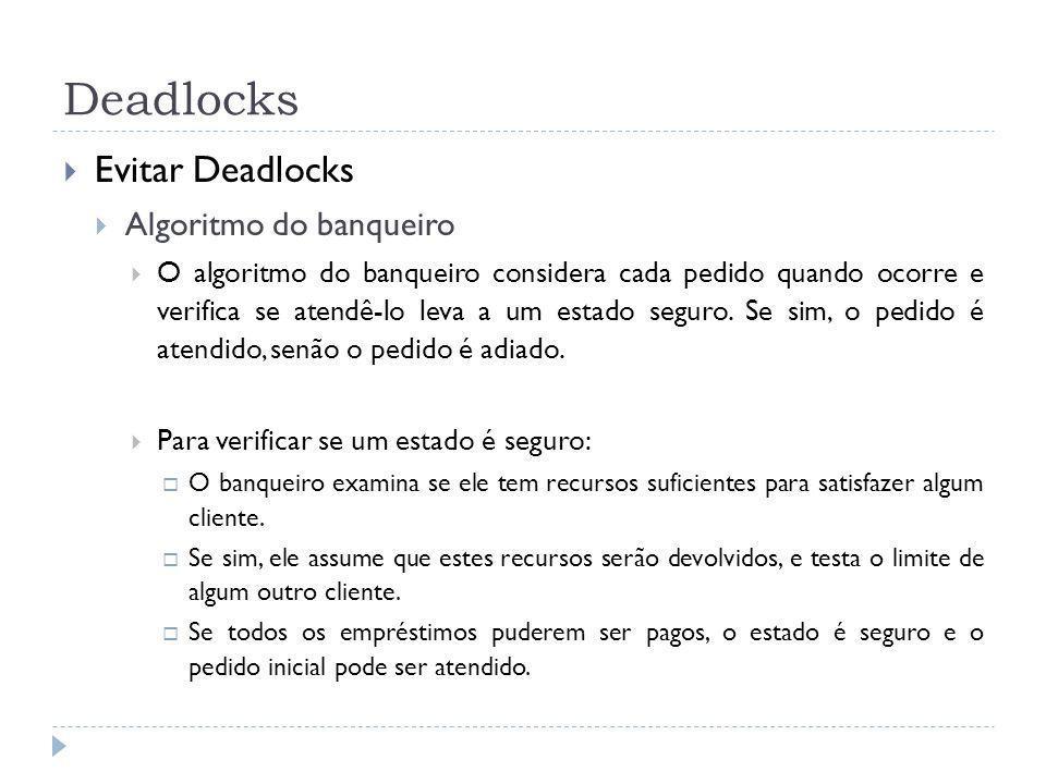 Deadlocks Evitar Deadlocks Algoritmo do banqueiro O algoritmo do banqueiro considera cada pedido quando ocorre e verifica se atendê-lo leva a um estado seguro.
