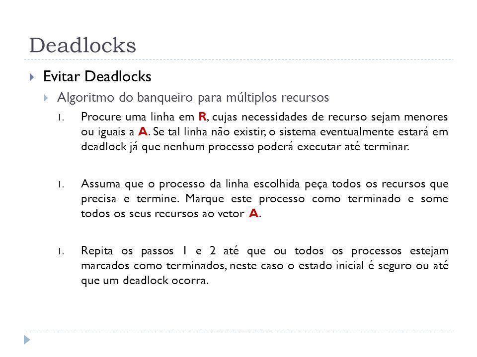 Deadlocks Evitar Deadlocks Algoritmo do banqueiro para múltiplos recursos 1. Procure uma linha em R, cujas necessidades de recurso sejam menores ou ig