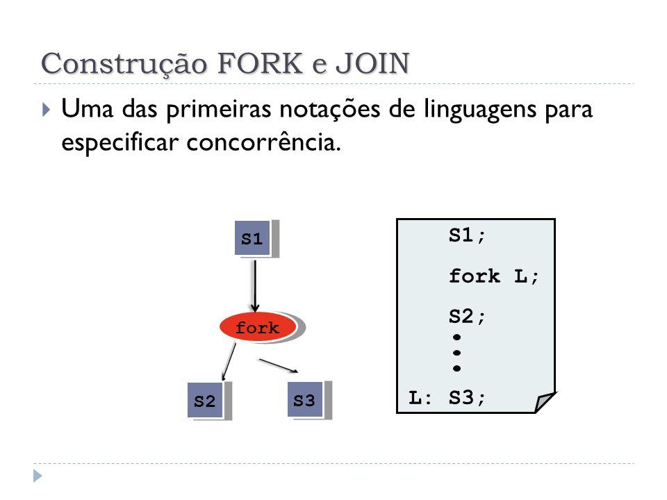 Construção FORK e JOIN A instrução fork L produz duas execuções concorrentes no programa: Uma execução começa no comando de label L ; Enquanto a outra é a continuação da execução do comando seguindo a instrução fork.