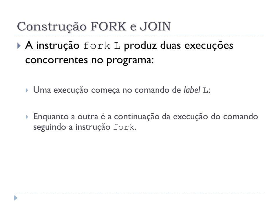 Construção FORK e JOIN A instrução fork L produz duas execuções concorrentes no programa: Uma execução começa no comando de label L ; Enquanto a outra