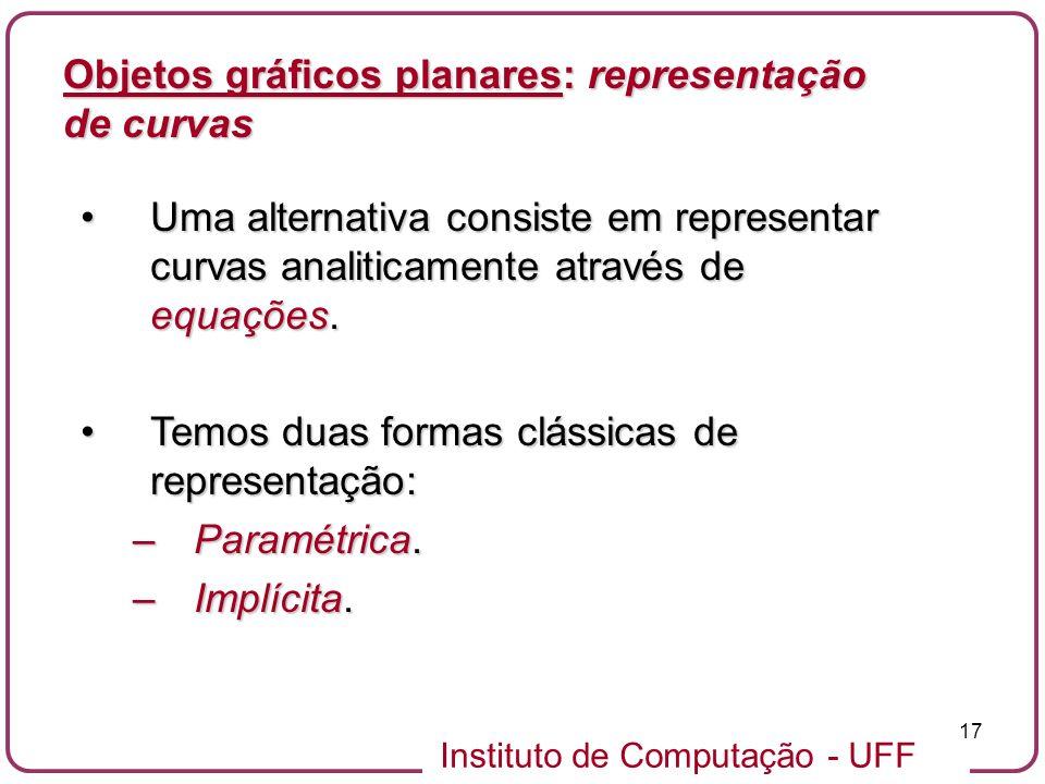 Instituto de Computação - UFF 17 Objetos gráficos planares: representação de curvas Uma alternativa consiste em representar curvas analiticamente atra
