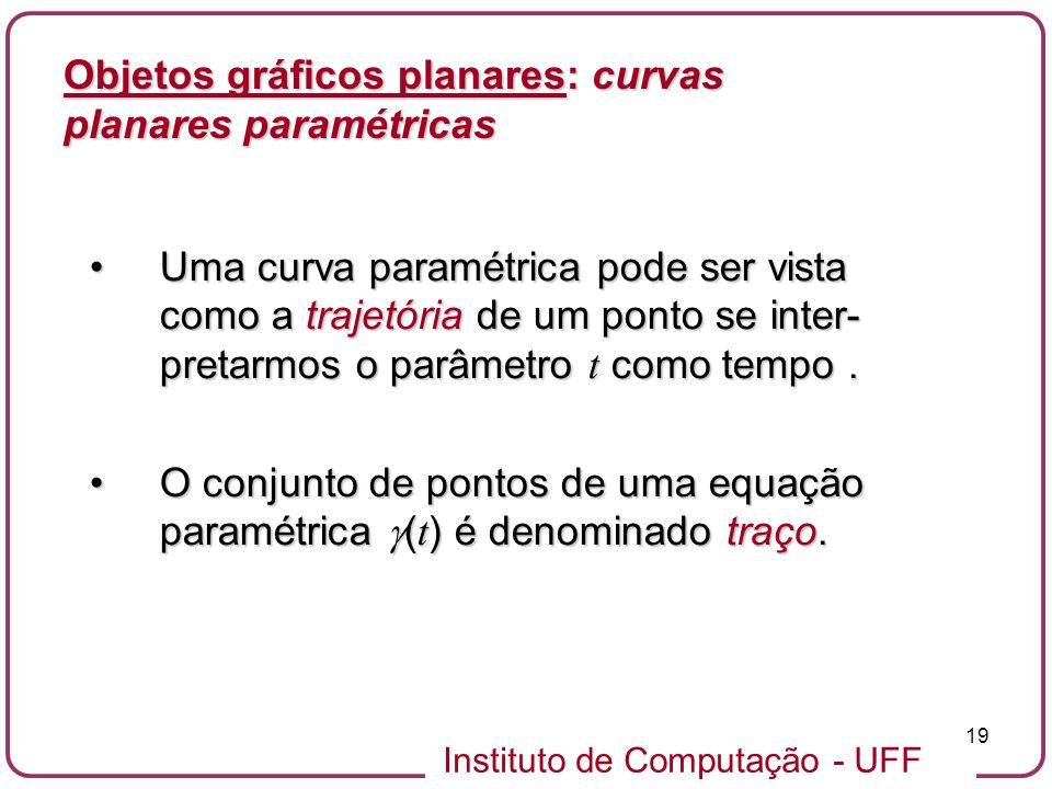 Instituto de Computação - UFF 19 Objetos gráficos planares: curvas planares paramétricas Uma curva paramétrica pode ser vista como a trajetória de um