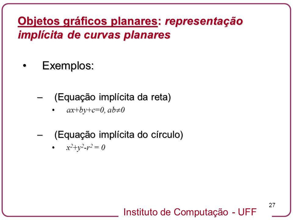 Instituto de Computação - UFF 27 Objetos gráficos planares: representação implícita de curvas planares Exemplos:Exemplos: –(Equação implícita da reta)