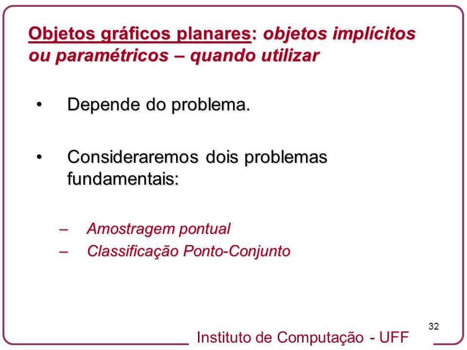 Instituto de Computação - UFF 32 Objetos gráficos planares: objetos implícitos ou paramétricos – quando utilizar Depende do problema.Depende do proble