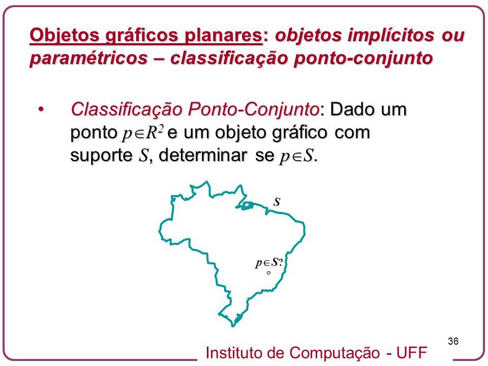 Instituto de Computação - UFF 36 Objetos gráficos planares: objetos implícitos ou paramétricos – classificação ponto-conjunto Classificação Ponto-Conj