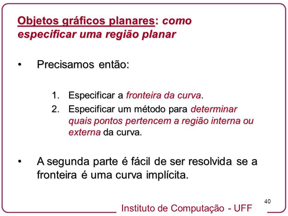 Instituto de Computação - UFF 40 Objetos gráficos planares: como especificar uma região planar Precisamos então:Precisamos então: 1.Especificar a fron