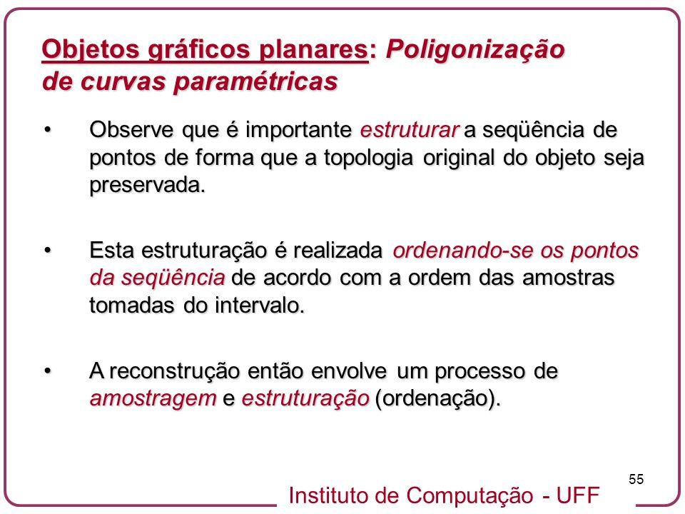 Instituto de Computação - UFF 55 Objetos gráficos planares: Poligonização de curvas paramétricas Observe que é importante estruturar a seqüência de po