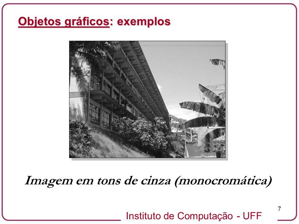 Instituto de Computação - UFF 7 Objetos gráficos: exemplos Imagem em tons de cinza (monocromática)
