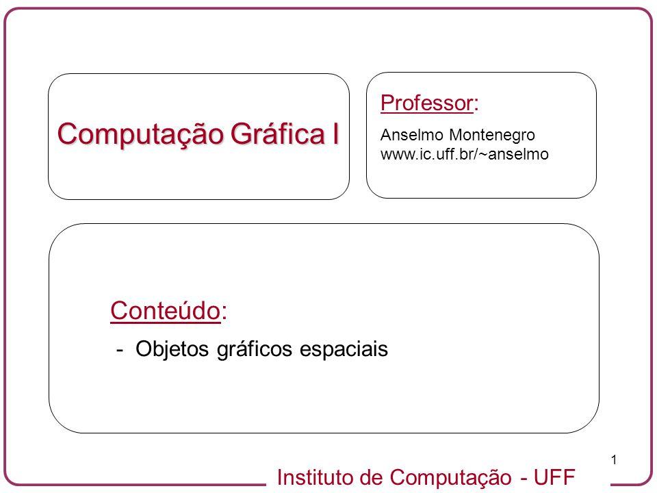 Instituto de Computação - UFF 2 Objetos gráficos espaciais: definições Um objeto gráfico espacial é um objeto gráfico que está imerso em um espaço ambiente de dimensão 3.Um objeto gráfico espacial é um objeto gráfico que está imerso em um espaço ambiente de dimensão 3.