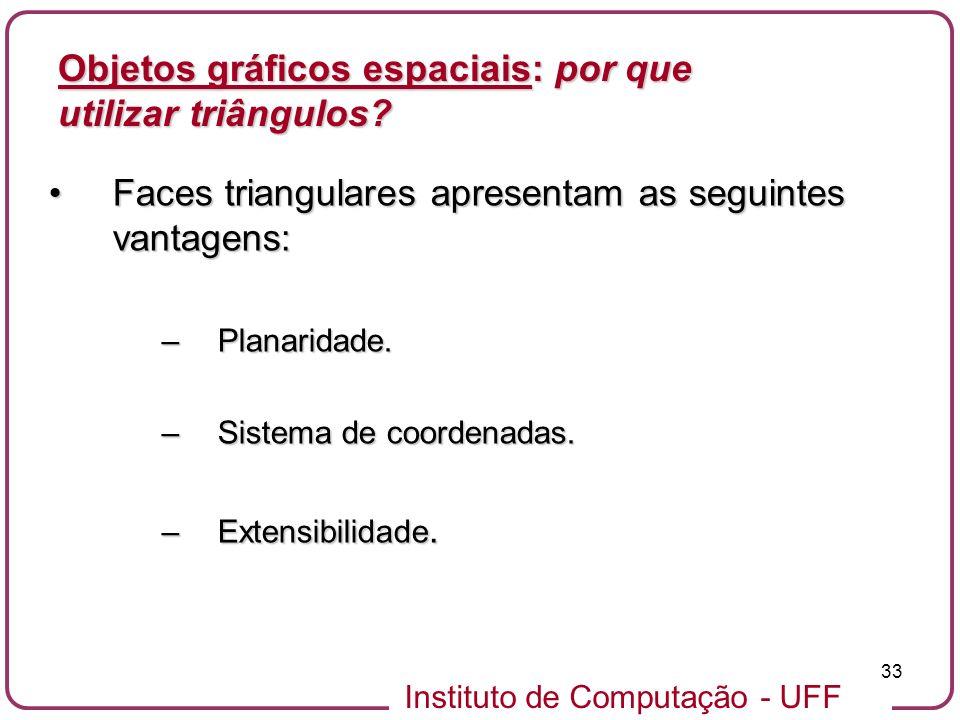 Instituto de Computação - UFF 33 Objetos gráficos espaciais: por que utilizar triângulos? Faces triangulares apresentam as seguintes vantagens:Faces t